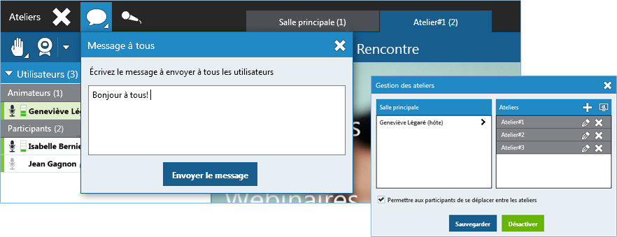 Plateforme eLearning Via : Interface ateliers
