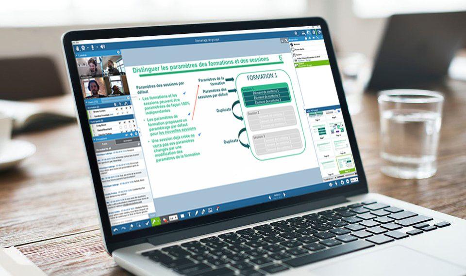Classe virtuelle Via eLearning sur un ordinateur portable